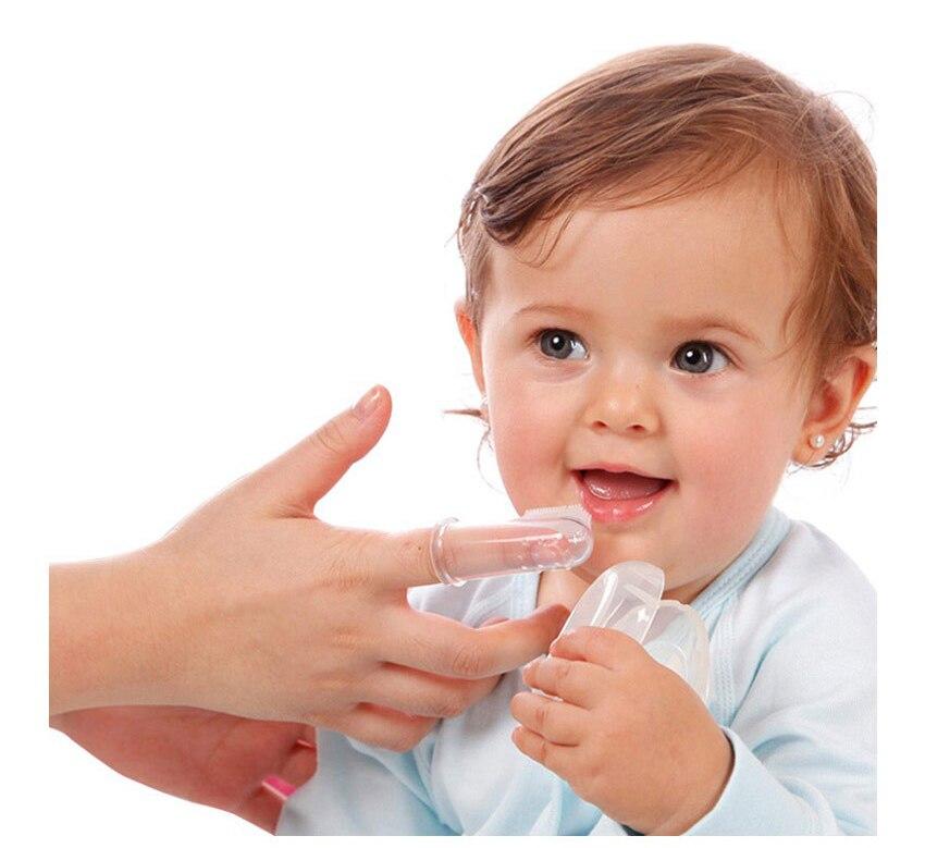 Baby Kinder Silikon Finger Zahnbürste Kinder Zähne klar Laub - Säuglingspflege - Foto 3
