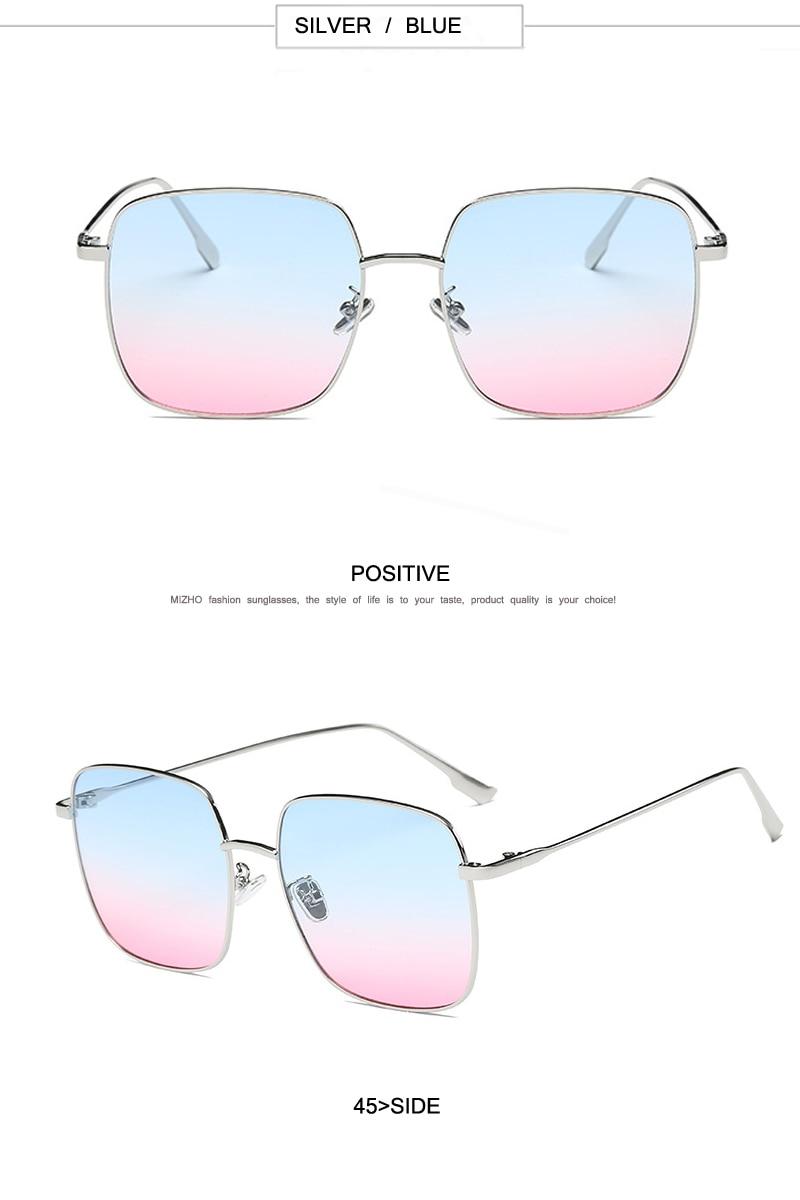 9981bca0c MIZHO العلامة التجارية تصميم الإطار المعدني UVB الوردي عدسة خمر مربع  النظارات الشمسية النساء الاستقطاب 2019 المتضخم نظارات شمسية موهير القيادة