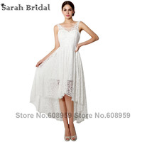 2015 New V Neck High Low Lace Short Wedding Dresses Robe Mariage Elegant White Knee Length