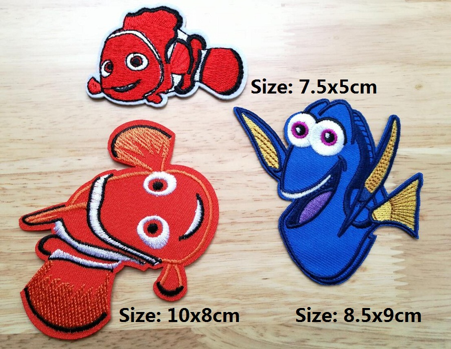 Nemo Dory USA iron on patches cartoon fish animals biker kids cloth patch embroidered Badge  wholesale-in Patches from Home & Garden    3