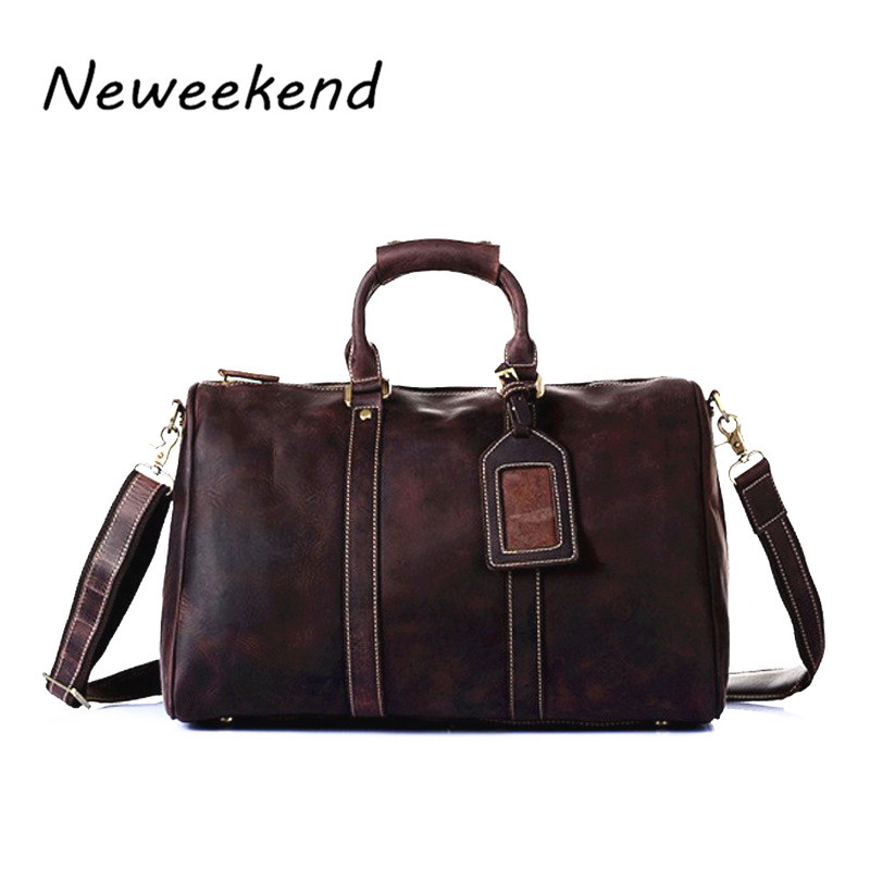 NEWEEKEND Vintage Crazy Horse Leather Men Travel Bags Big Luggage & Bags Duffle Bag Large tote 9551 7077r crazy horse leather unisex dark brown huge luggage bag tote bag travel bag