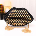 2016 Woman Lady Female Girl Lips Rivet Studded Clutch Chain Shoulder Novelty Bag Purse Handbag with Rivet