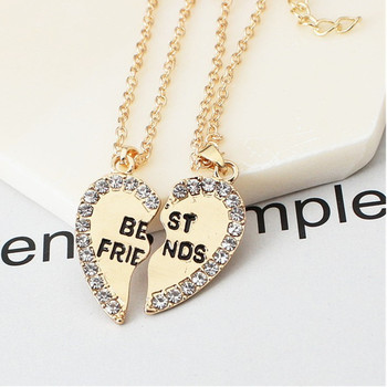 2 pieces / set Half love rhinestone pendant best friend necklace friendship gift for couple good frien dalloy pendant necklace 4