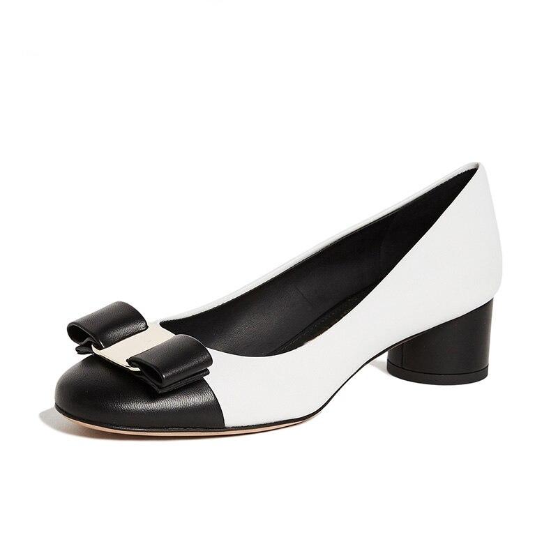 Original Intention Women Cute White Bow Block Heels Cap Pumps Round Toe Slip-on For Ladies Shoes Classic Mature Women Size 4-16