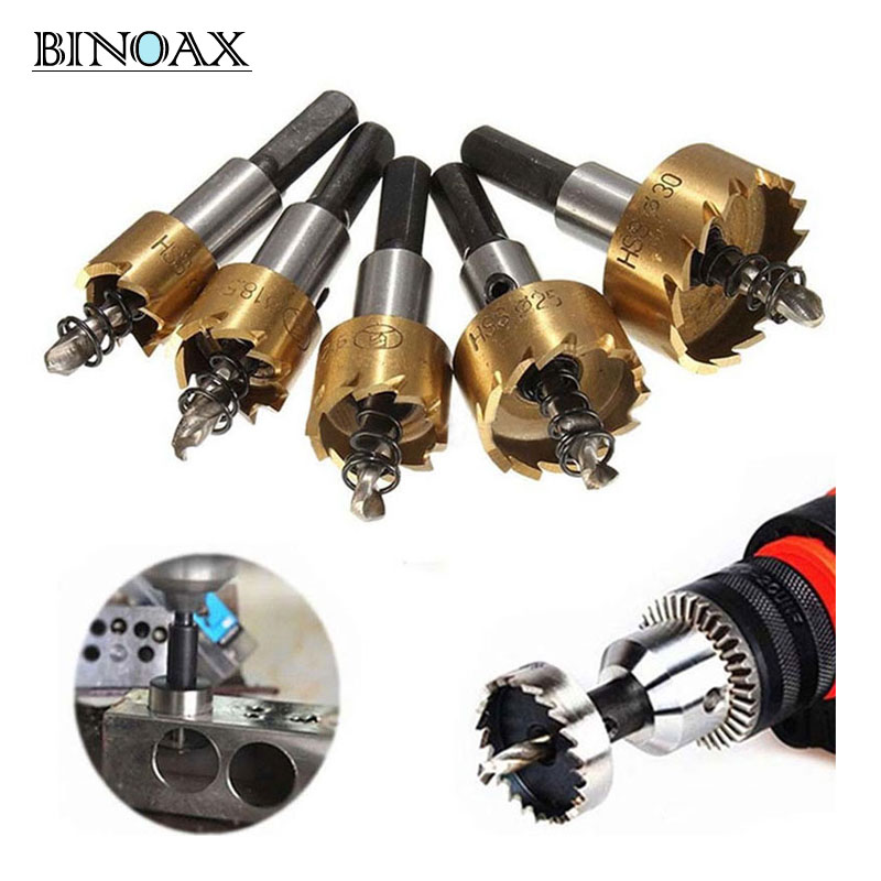 цена на Binoax 5 Pcs HSS Carbide Tip Drill Bit Saw Set 16/18.5/20/25/30mm Metal Wood Drilling Hole Cut Tool for Installing Locks
