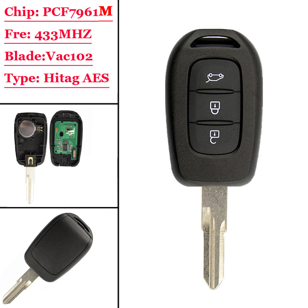 (1Pcs) 3 buttons remote car key 433mhz with PCF7961M HITAG AES Chip for Renault Sandero Dacia Logan Lodgy Dokker Duster 2