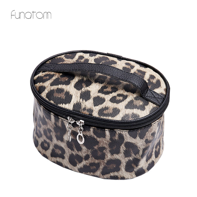 Cosmetic Bag Professional Leopard Makeup Case Women Travel Make Up Organizer Storage Pouch Toiletry Wash Kit