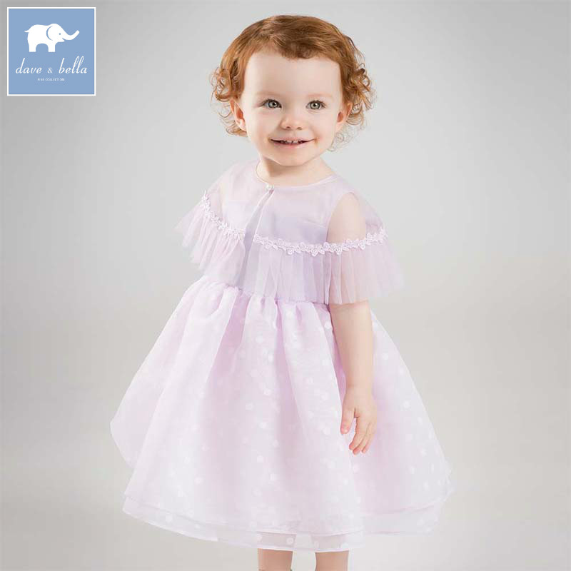 Dave bella Princess baby girl dress kids sleeveless party wedding gown children summer clothing little lady