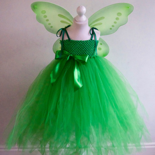 Dress + Wings Tinkerbell Fairy Princess Girls Tulle Tutu Dress with ...