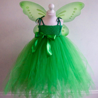 Dress + Wings Tinkerbell Fairy Princess Girls Tulle Tutu Dress with Wings Set Fairy Baby Girls Halloween Party Costume Outfit