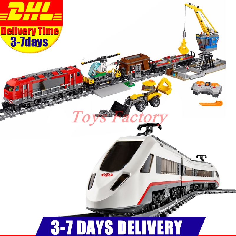 DHL Lepin 02009 1033pcs City Engineering Remote Control RC Train+ LEPIN 02010 The High-speed Passenger Train Clone 60051 60098 lepin 02009 1033pcs city engineering remote control rc train building block compatible 60098 brick toy