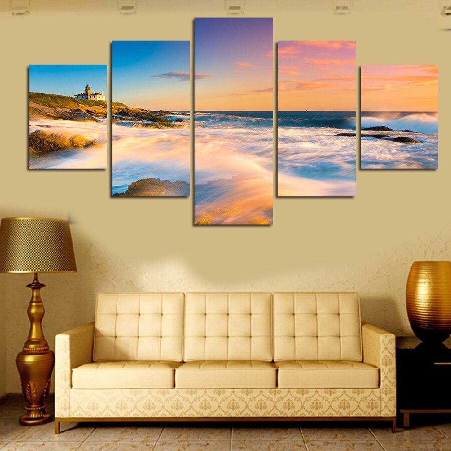 Ξ5 Panel Modern Printed Large HD Decorative Art Waterfall Painting ...