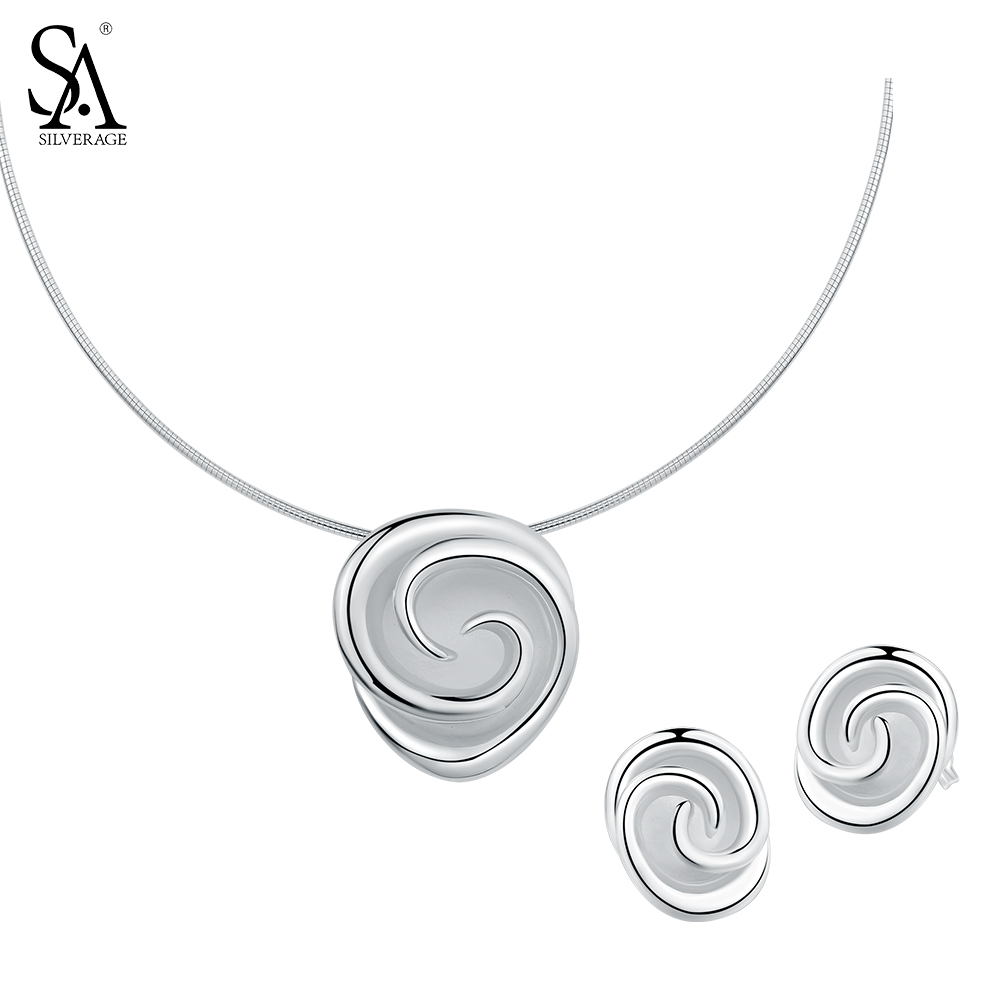 SA SILVERAGE 925 Sterling Silver Jewelry Sets for Women Rose Flower Choker Pendant Necklaces Stud Earrings Fine Jewelry sa silverage genuine 925 sterling silver fine jewelry for women stud earrings black 2018 hot sale