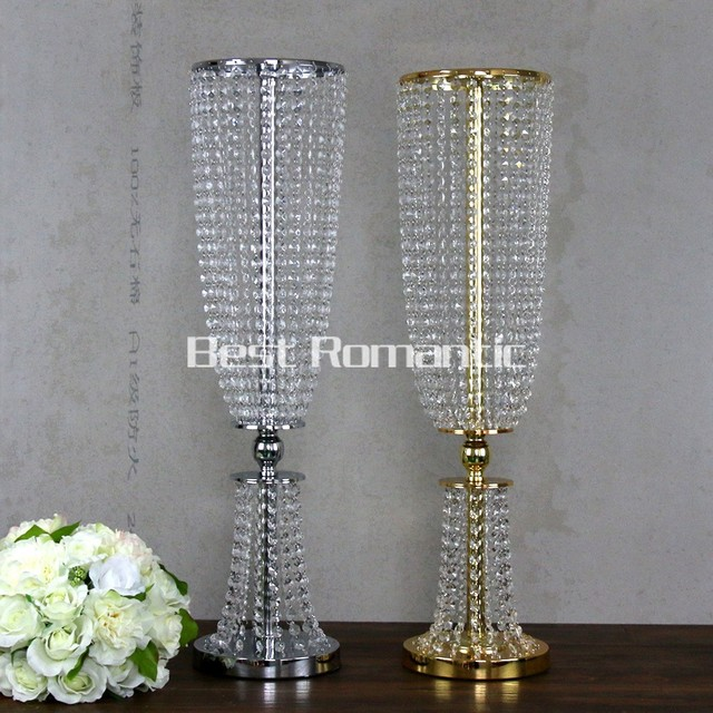 80cm Tall 10pcs Flower Design Metal Wedding Centerpiece Stand With Crystal Bead
