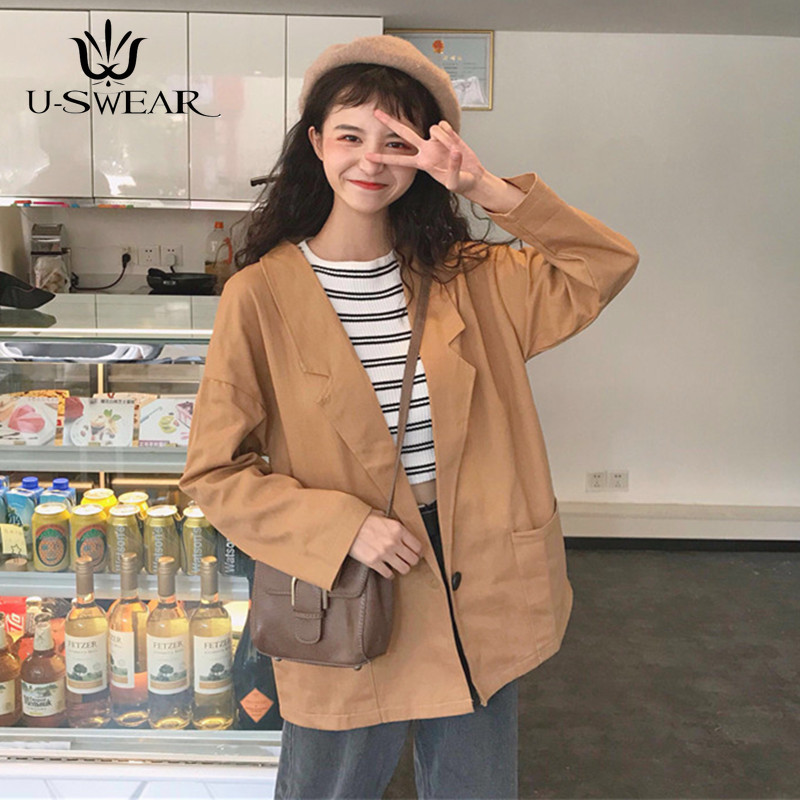 U-SWEAR Spring Women   Jackets   Small Suit   Jacket   black Color Long Sleeve Slim Suit Button Women   Basic     Jackets