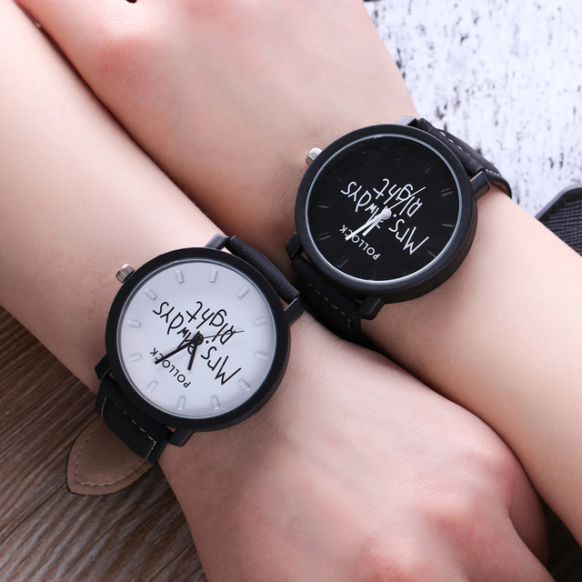 Men and Women British Style Leather Strap Analog Watch Mrs. Always Right Pattern