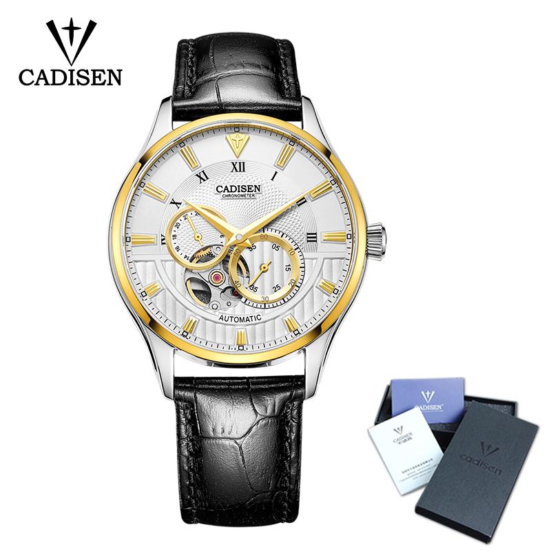 Cadisen Men watch Skeleton Automatic Leather Stainless steel Wristwatch Mans Fashion Business Watches masculino Top Brand Luxury люстра chiaro габриэль 491012905