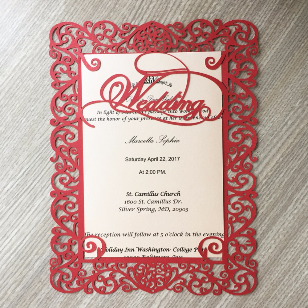 Us 23 49 13 Off 50pcs Laser Cut Wedding Words Wedding Party Decoration Beautiful Pretty Design Wedding Invitation Cards Single Page Card In Cards