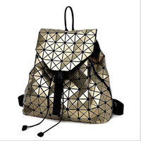 Women Geometry Quilted Plaid Mosaic Sequins Mirror Casual Travel Backpack BaoBao Lattice Laser PU Backpacks Daypack