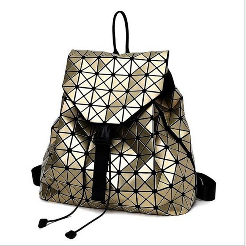 Women Geometry Quilted Plaid Backpack Mosaic Sequins Mirror Lattice Laser Casual Travel BaoBao PU Backpacks Daypack
