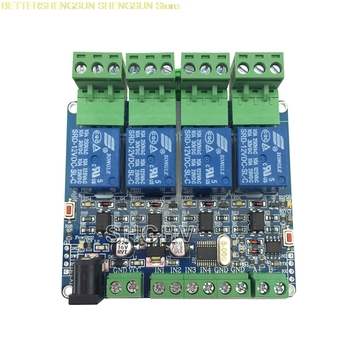 цена MODBUS-RTU 4 way relay module STM8S103 MCU two development RS485 communication TTL онлайн в 2017 году