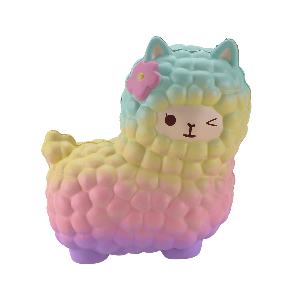 Squsihies Stress Toys Squishy Slow Rising Stress Toys Alpaca 7.1 Rainbow (2)