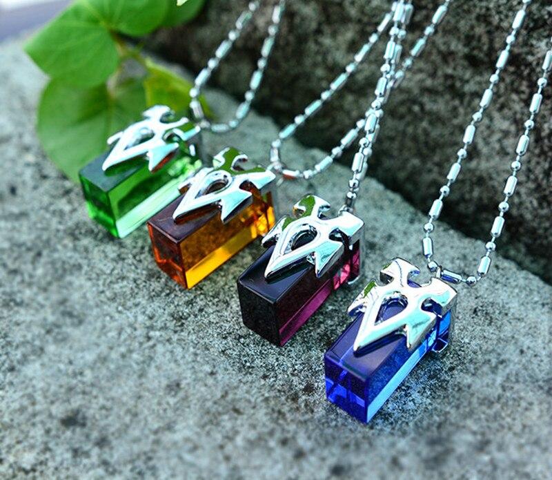 Fashion New Cool Anime Sword Art Online Kirito Asuna Yuki Blue Metastasis Crystal Necklace