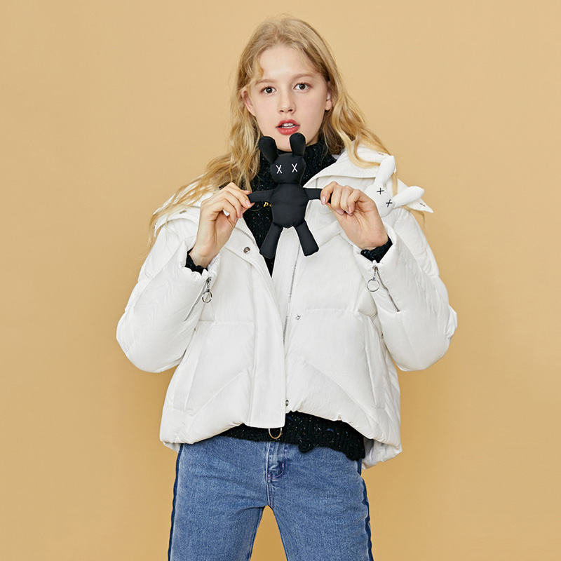 Winter 90% White Duck   Down   Jacket Women Fashion Rabbit Dolls Decoration   Down     Coats   2019 New Arrival Cute Hooded   Down   Jacket