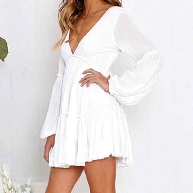 FeiTong Elegant ruffle white dress Deep v neck long sleeve pleated short dresses  Women autumn winter white dress vestidos 48b300bf5c93