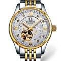 Carvinal мужские деловые водонепроницаемые Стальные наручные часы с автоматическим самозаводом  наручные часы-золотой ободок  Белый Диаметр