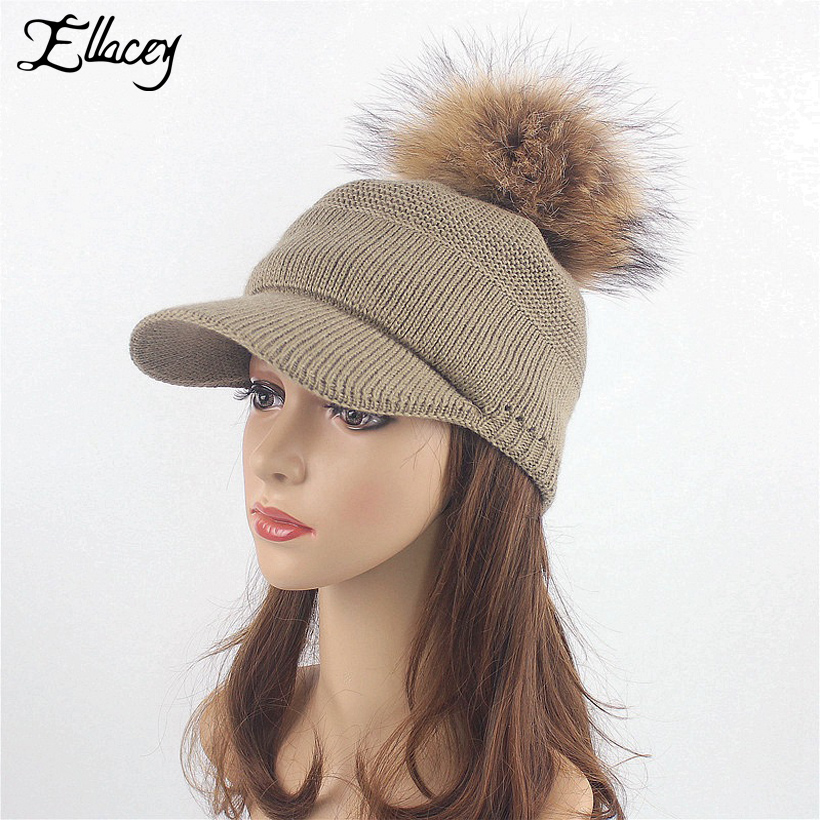 Ellacey New Stylish Autumn Winter Large Raccoon Hair Ball Hat Women Fashion Real Fur Ball Baseball Caps Outdoor Warm Knitted Hat arcade fire florence