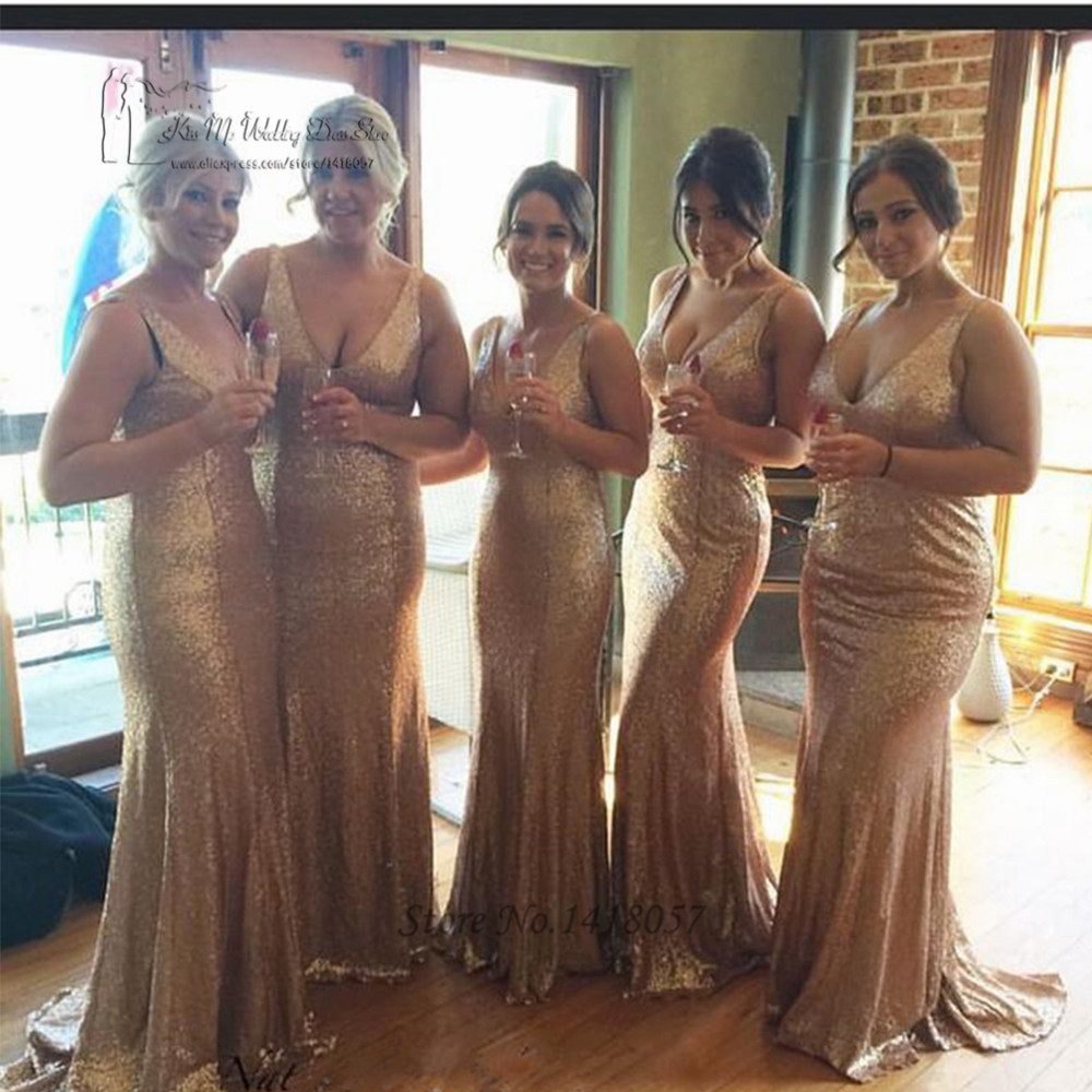 Sexy Gold Sequin Bridesmaid Dress Long V Neck Back Sleeveless Mermaid Wedding Party Dresses Champagne Robe