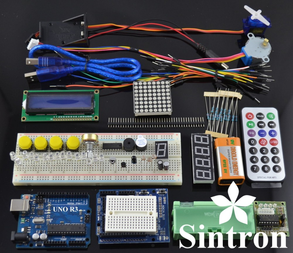 [Sintron] UNO R3 Upgrade Kit with Motor LCD Servo Module for Arduino AVR Starter geekcreit™ uno basic starter learning kit upgrade version for arduino