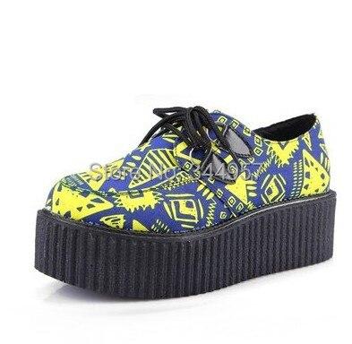 Retail 2014 Fashion Women Casual Flats Geometric Block Color HARAJUKU vintage Punk Gothic creepers Platform Shoes