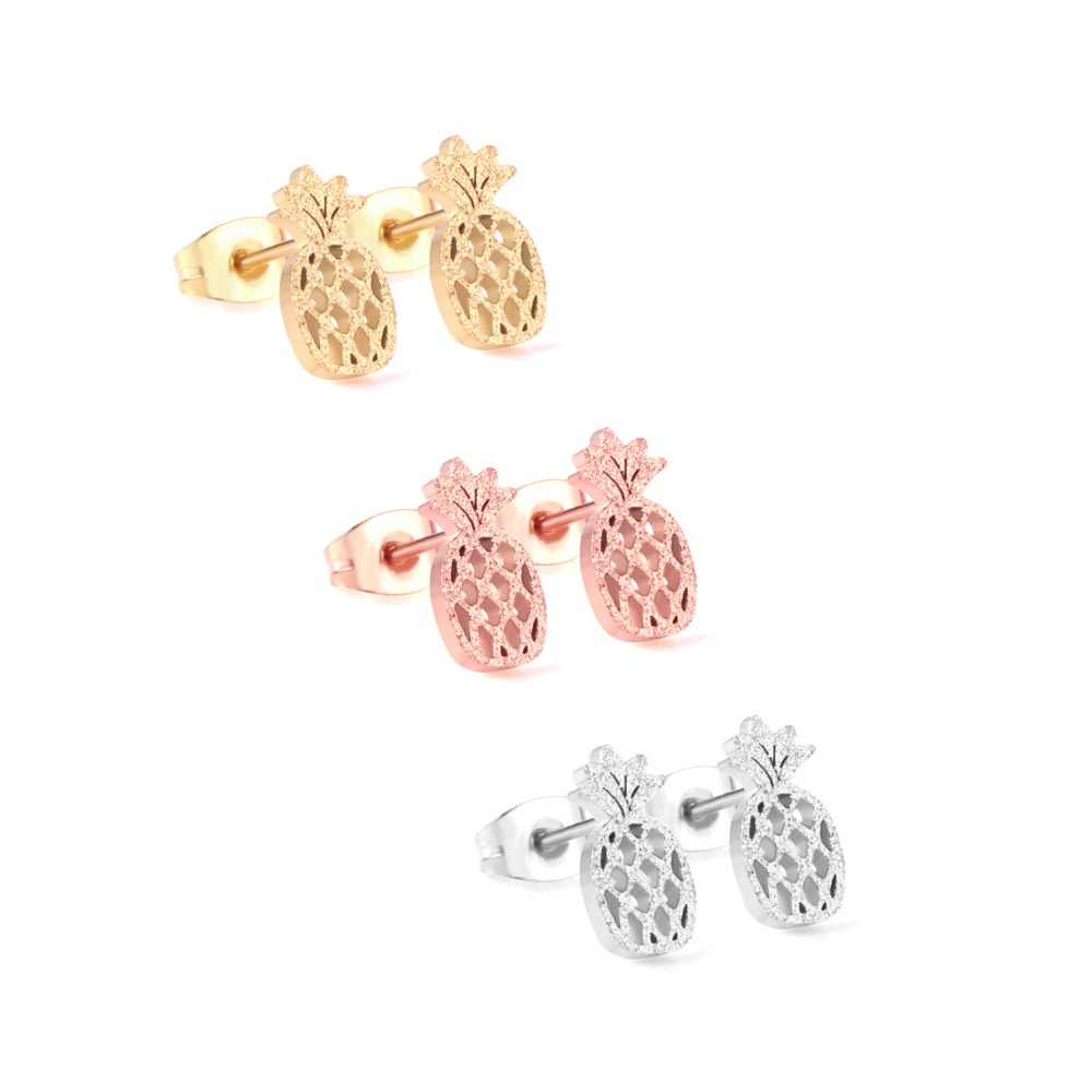 LUXUKISSKIDS 3Pairs/Lot Stainless Steel Stud Earrings Pineapple Shape pendientes de moda de las mujeres
