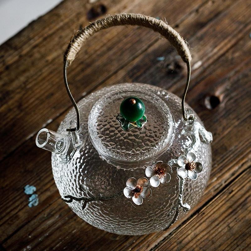 650 ml Kreative Boutique Japanischen Verdicken Wärme Beständig Glas Tee Topf Home Blume Teekanne Büro Wasserkocher Drink-in Teekannen aus Heim und Garten bei  Gruppe 3