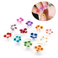 ELECOOL Fashion 1 Set 12 Colors 3D Dry Flower Nail Stickers For Women Natural Flower DIY