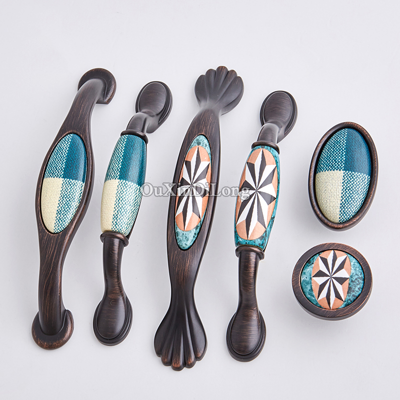 Top Designed 10PCS European Antique Kitchen Door Handles Ceramic Printing Cupboard Wardrobe Drawer Cabinet Pulls Handles Knobs in Cabinet Pulls from Home Improvement