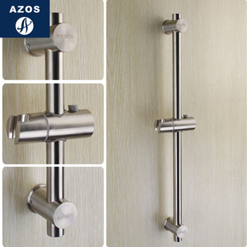 Azos Shower Rod Brass Chrome Rise And Fall Single Function Rotatable Bracket Bathing Shower Room Round HSSJ018A