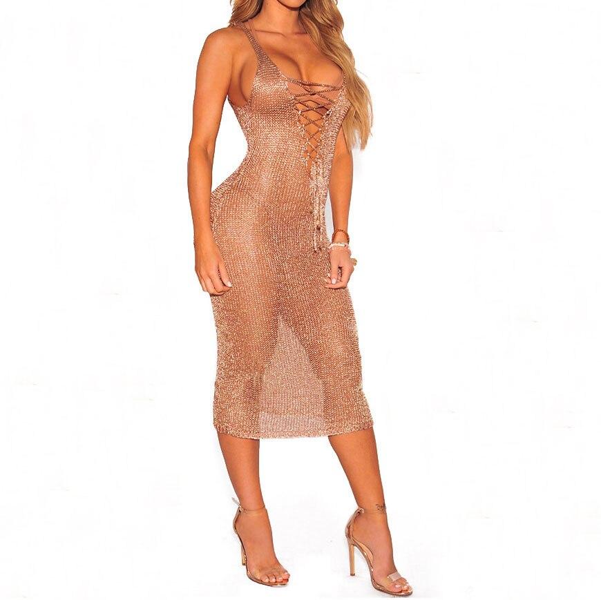 SheeYon 2018 New Sexy Rose Gold Knit Dresses V Neck Lace