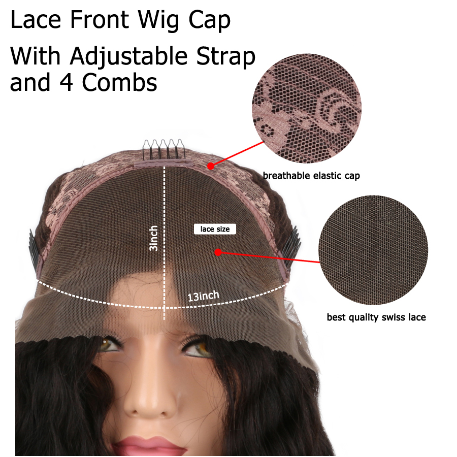 BEEOS 250% Density Peruvian Lace Front Wig Human Hair With Baby Hair Remy Pre Plucked Front Lace Wig Bleached Knots Average Cap