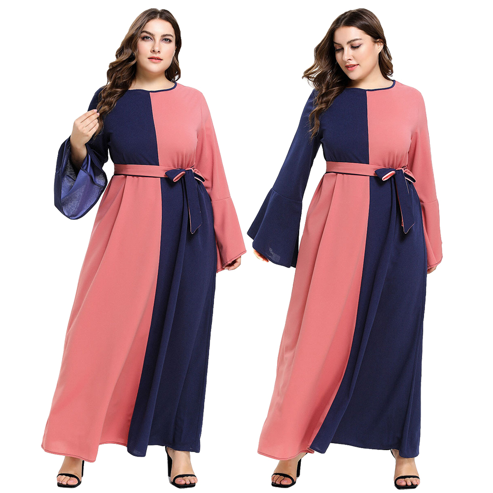 Women Elegant Flare Sleeve Patchwork Maxi Dress Muslim Abaya Party Cocktail Robe Islamic Contrast Color With Belt Ankle-Length