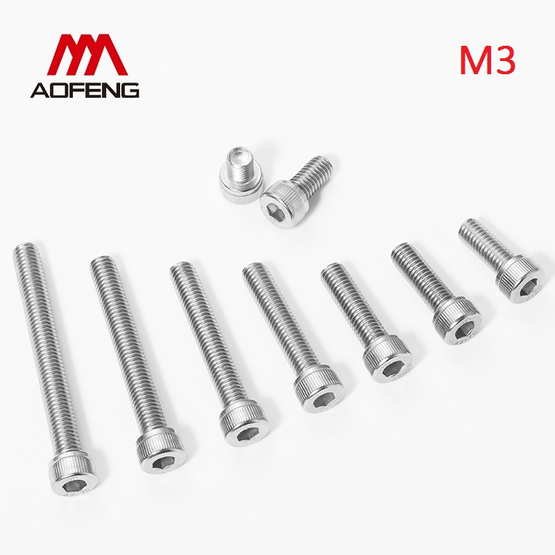 M3 Bolt 304 Stainless Steel Hex Socket Screw M3*5 6 8 10 12 22 25 30 35 40 45mm Hexagon Socket Cap Head Bolt M3 Nut and Washer image