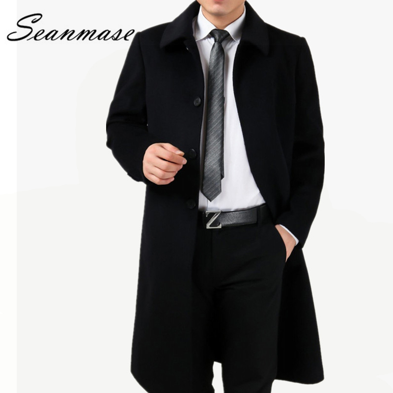 Brand 2019 Winter Wool Coat Men Outwear Jacket Thickening Mens Coat Parkas Man  65% Wool+35% Cashmere Blend Big Size 4XL ZZ045(China)