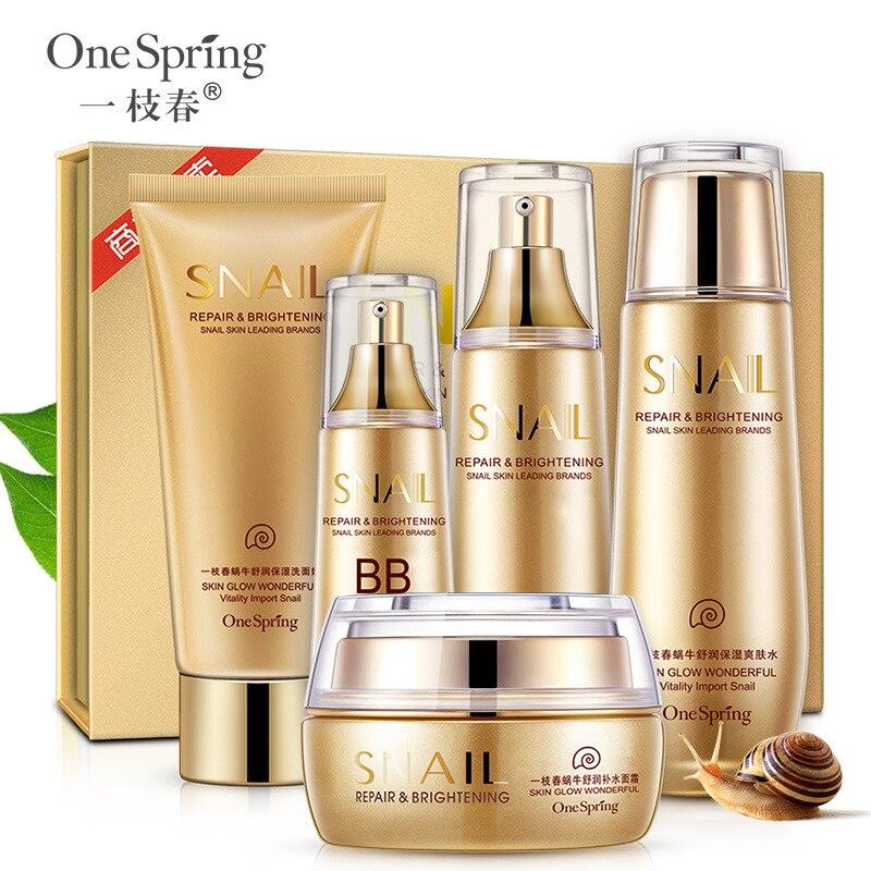 One Spring Snail Soothing & Moisturizing Set Skin Care Nourishing Anti-wrinkle Cleanser, Toner, Lotion, Cream, BB Cream тональный крем the saem porcelain skin bb cream spf30 ра 02