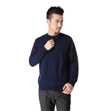 Men clothing 100% cashmere Daily pullover sweater round neck thick pullover warm father gift Jacquard maglione uomo -DL8856