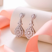 Tuliper Teardrop Bridal Earrings 925 Sterling Silver Cubic Zircon Dangle Earrings For Wedding Bridesmaid Party Jewelry Gift
