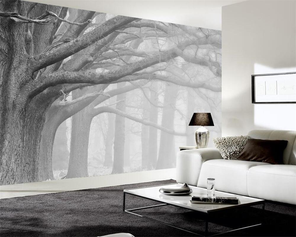 Купить с кэшбэком Beibehang Black and white forest tree art background wall painting decoration 3d wallpaper bedroom living room wallpaper murals