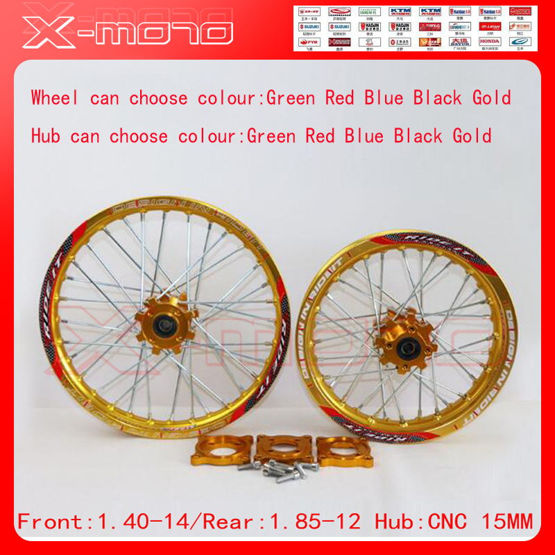15mm Front 1.60-14 Rear 1.85-12 Alloy Wheel Rim with CNC Hub For KAYO HR-160cc TY150CC Dirt / Pit bike 12 14 inch Gold wheel front 1 60 17 rear 1 85 14 inch alloy wheel rim with cnc hub for kayo hr 160cc ty150cc dirt pit bike 14 17 inch motorcycle wheel