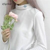 Qlychee Moda In Pile Maglia A Manica Lunga T-Shirt Saturn Ricamo della Maglietta Femminile Dolcevita Primavera Autunno Top T-Shirt